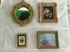 Vintage dolls house miniature gilt mirror and pictures,Dolls house toys.
