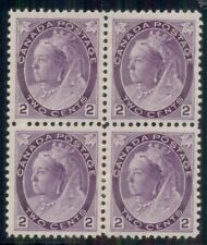 CANADA #76a 2¢ violet, thick paper, Block of 4, 1NH/3H, VF Scott $875.00