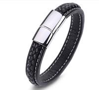 Echtleder Armband für Herren Männer Style Magnetverschluß Edelstahl Schwarz Z1