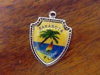 Vintage silver SARASOTA FLORIDA PALM TREE SAILBOAT TRAVEL SHIELD charm #E13