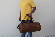 "21"" Handmade Real Brown Leather Hold-All Bag Duffle Bag Weekend Travel Luggage"