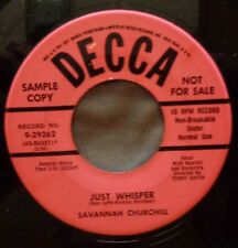 SAVANNAH CHURCHILL & GRP 45 Just whisper / The gypsy was.. DECCA DJ Doowop Kz519