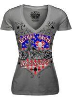 T Shirt tattoo Skull Motorcycle no Harley Biker LA Motor  lethal threat rock