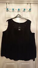 New Look Inspire CURVES TOP Black Vest Plus Size 28 Gold Studs / Studded £17.99
