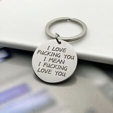Cute I Love you Key Chain Couple Stainless Steel Keyring Keyfob Lover Xmas Gift