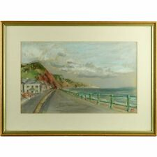 Original Signed Framed Pastel Drawing Sea Front Sidmouth Devon Margaret Ricketts