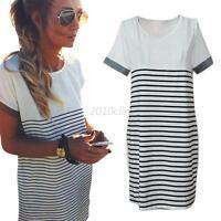 Summer Casual Short Sleeve Stripe Mini Dress Women Ladies Loose T-shirt Tee Tops