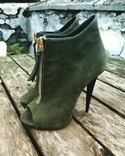 Authentic GIUSEPPE ZANOTTI Green Peeptoe Booties 37