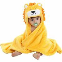 Baby Hooded Bath Towels Animal Bathrobe Fleece Blanket (Lion)