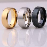 8MM Titanium Steel Men Women Wedding Engagement Black Gold Ring Band Size 6-13