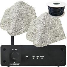 Wi-Fi Garden Speaker Kit - 2x 75W Outdoor Rock Speakers - HiFi Stereo Amplifier