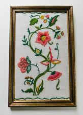 Vintage Finished Jacobean Flowers Wool Crewel Embroidery Framed