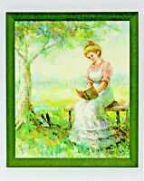 Colonial Woman Reading Bible   20 x 24 Art Oil Painting on Canvas w/Custom Frame