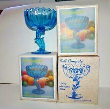 Vintage Indiana Glass Tall Compote Horizon Blue #1170 NOS aka Lotus HTF! 3 avail