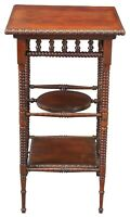 """Antique Late Victorian Mahogany Tiered Pedestal Parlor Table Plant Stand 33"""""""