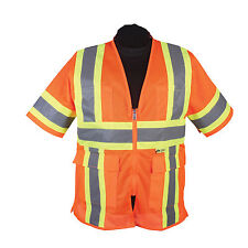 2W M7138C-3- HI-VIZ ORANGE CLASS 3 ALL MESH SAFETY VEST - LG