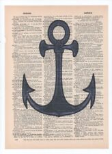 Boat anchor Tattoo Dictionary art book print Poster Vintage Wall Decor A009