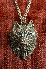 Wolf Head Fenris Pendant Viking Thor Norse Pewter Stainless Steel Chain Necklace