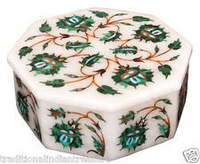 "3""x3""x2"" Marble Storage Jewelry Box Malachite Floral Art Collectible Gifts Decor"