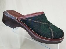 J. Crew Wooden Clogs Mules Green Sz 6 Knitted Plaid Upper Made In Italy