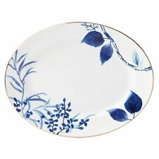 "Kate Spade - Birch Way Indigo Bone China 13"" Oval Serving Platters (Set of 2)"