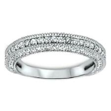 1.10 Carat Pave Set 14K White Gold Natural Round Cut Diamond Wedding Ring Si1 G