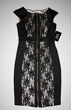 NWT JAX Black Floral Lace Exposed Zip-Front Cap-Sleeve Sheath Dress 4 $138
