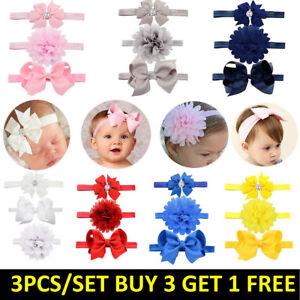 3pcs/Set Baby Girl Headband Ribbon Elastic Headdress Kids Newborn Hair Band Bow