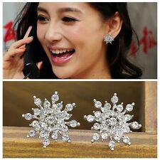 Mujer Aretes Pendientes Cristal Copo De Nieve elegante Earrings Ear Stud Regalo