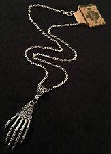Skeleton Hand Necklace Zombie Rockabilly Bone Silver Steampunk Horror Voodoo *UK