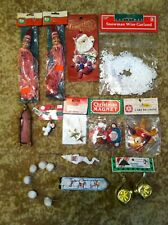 Lot Of Vintage Christmas Decorations, Ornaments, Garlands, Picture Frame NIP