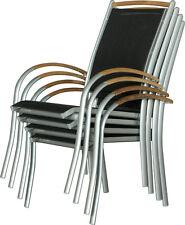 Lot de 4 chaises de jardin DIPLOMAT - argenté teck salon de jardin meuble