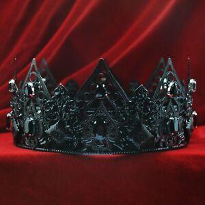 BLACK COUTURE CROWN Men's King Crown Imperial Medieval Wedding Full Halloween