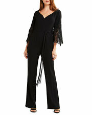 Elie Tahari Tina Women's Jumpsuit Size 4 Black Crepe Lace Sleeve $478 - NO BELT