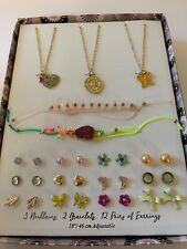 Girls Fashion Jewelry Boxed Gift Set 2 Bracelets 3 Necklaces 12 Earrings Lot New