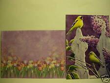 3 Susan Bourdet Greeting Note Card Finch Fence Bird Art