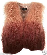 Topshop Pink Ombre Mongolian Sheepskin Wool Fur Gilet Waistcoat Jacket 10 38 US6