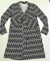 women's Lori Michaels dress size large black white long sleeves polyester v-neck