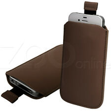 BROWN PU LEATHER PULL-UP PHONE POUCH COVER CASE SLEEVE FOR MOTOROLA DEFY PLUS +