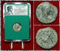 Ancient Roman Empire Coin Constantius II Roman Soldier Spearing Fallen Horseman