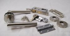 Mitred Door Handle Pack (Cylinder & Turn Lockset), Satin SS C/w Hinges