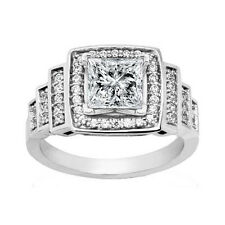Ring in Platinum Halo Setting 2.09 ct. Princess Diamond Engagement