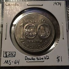 1974 DOUBLE YOKE V2 1 Dollar Canada  MUST SEE  No Reserve!  (Coin #57)