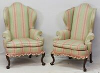 Pair of Kittinger Williamsburg Mahogany Wing Chairs Striped Fabric CW 163 Rare