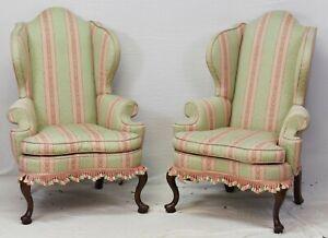 Pair of Kittinger Williamsburg Mahogany Wing Chairs Striped Fabric CW 163 Rare