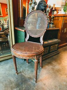 Early 19th Century Louis XVI Style Canned Carved French Medallion Side Chair