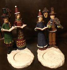 2 Lot Of Vintage Candle Holders🎄 Christmas Carolers Figurines* Estate Sale Find