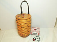 LONGABERGER Small Gatehouse Basket with Protector Strawberry Wood Lid and Tie-on