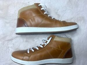 ALDO Cognac Brown Leather Mens High Top Sneakers size 8