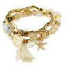 Fashion Elegant Rhinestone Multilayer Beads Bangle Chain Bracelet Women Jewelry